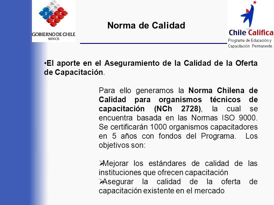El aporte en el Aseguramiento de la Calidad de la Oferta de Capacitación. Para ello generamos la Norma Chilena de Calidad para organismos técnicos de