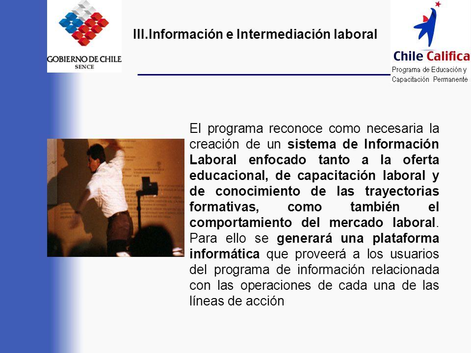III.Información e Intermediación laboral El programa reconoce como necesaria la creación de un sistema de Información Laboral enfocado tanto a la ofer