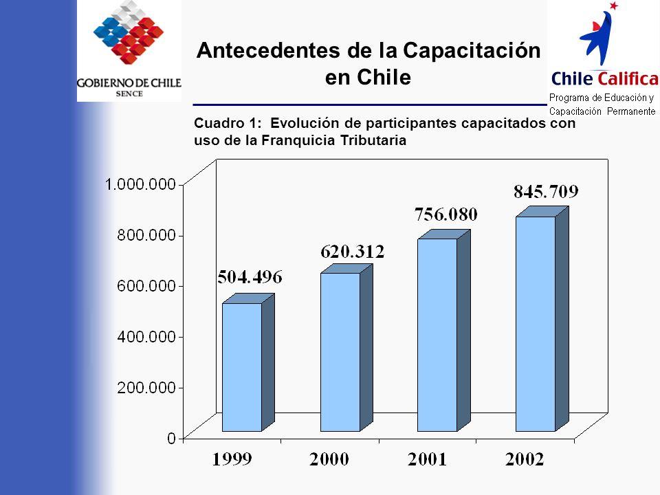 Antecedentes de la Capacitación en Chile Cuadro 1: Evolución de participantes capacitados con uso de la Franquicia Tributaria