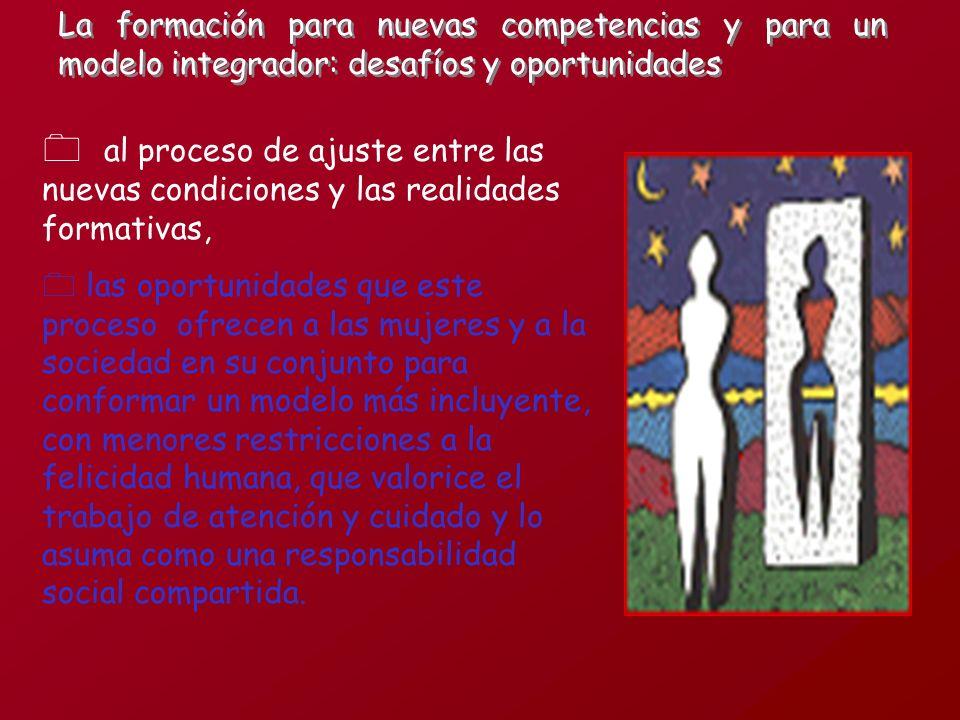 al proceso de ajuste entre las nuevas condiciones y las realidades formativas, 0 las oportunidades que este proceso ofrecen a las mujeres y a la socie