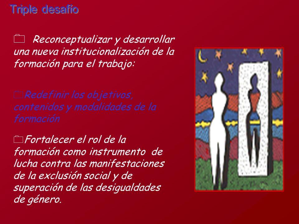 Reconceptualizar y desarrollar una nueva institucionalización de la formación para el trabajo: Triple desafío 0Redefinir los objetivos, contenidos y m