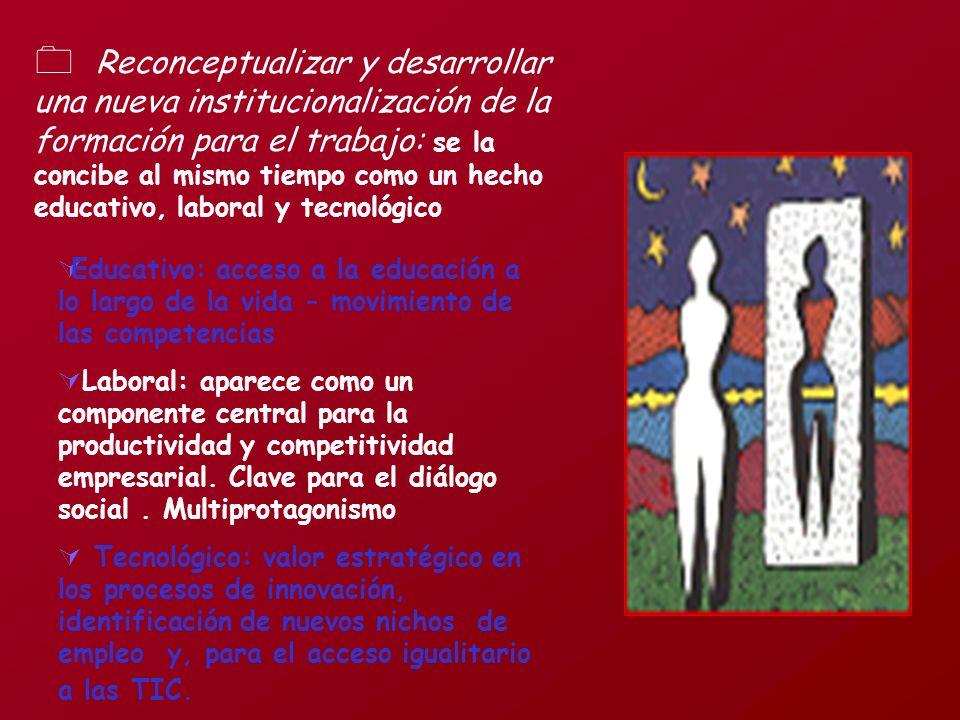 Reconceptualizar y desarrollar una nueva institucionalización de la formación para el trabajo: se la concibe al mismo tiempo como un hecho educativo,