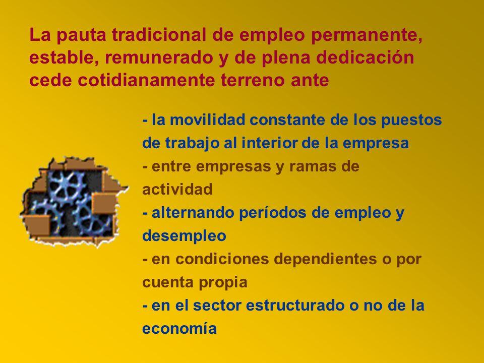 - la movilidad constante de los puestos de trabajo al interior de la empresa - entre empresas y ramas de actividad - alternando períodos de empleo y d