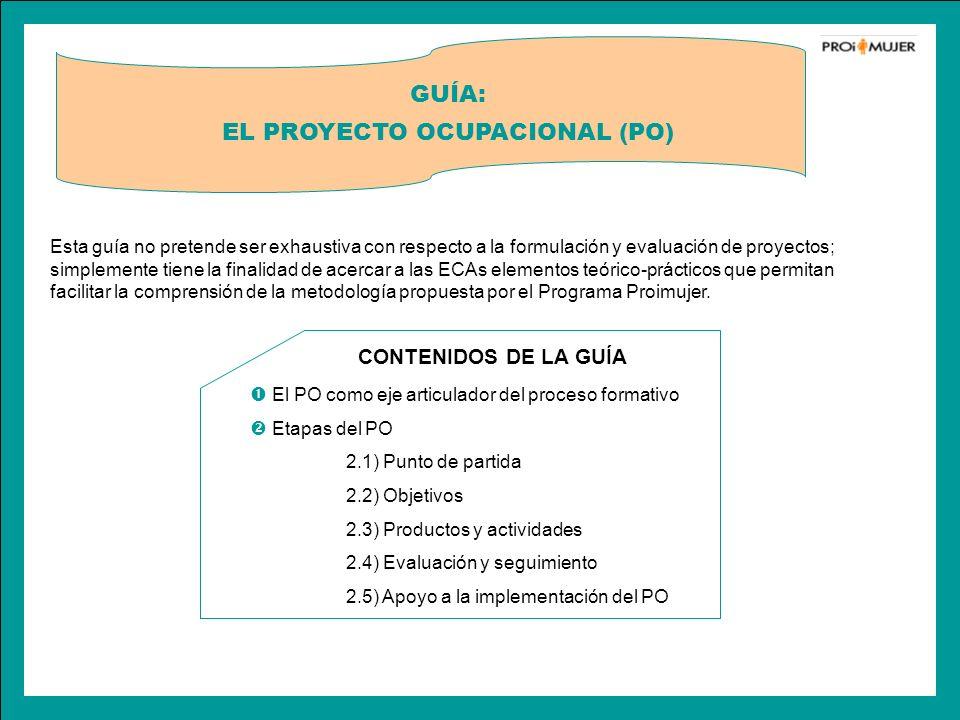 CONTENIDOS DE LA GUÍA El PO como eje articulador del proceso formativo Etapas del PO 2.1) Punto de partida 2.2) Objetivos 2.3) Productos y actividades