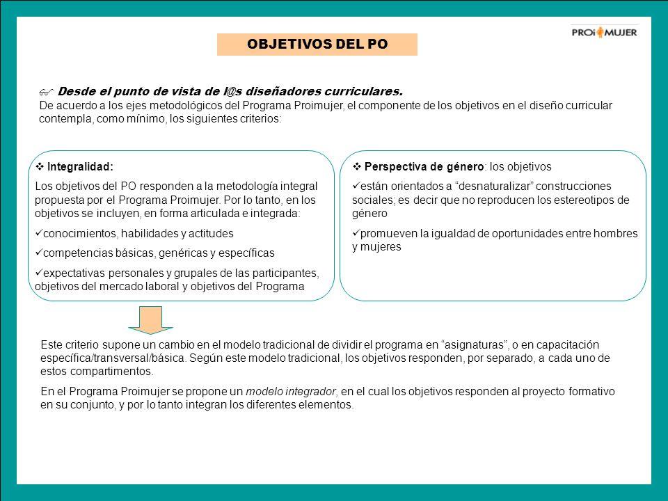 OBJETIVOS DEL PO Integralidad: Los objetivos del PO responden a la metodología integral propuesta por el Programa Proimujer. Por lo tanto, en los obje