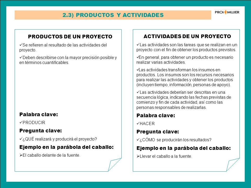 2.3) PRODUCTOS Y ACTIVIDADES PRODUCTOS DE UN PROYECTO Se refieren al resultado de las actividades del proyecto. Deben describirse con la mayor precisi