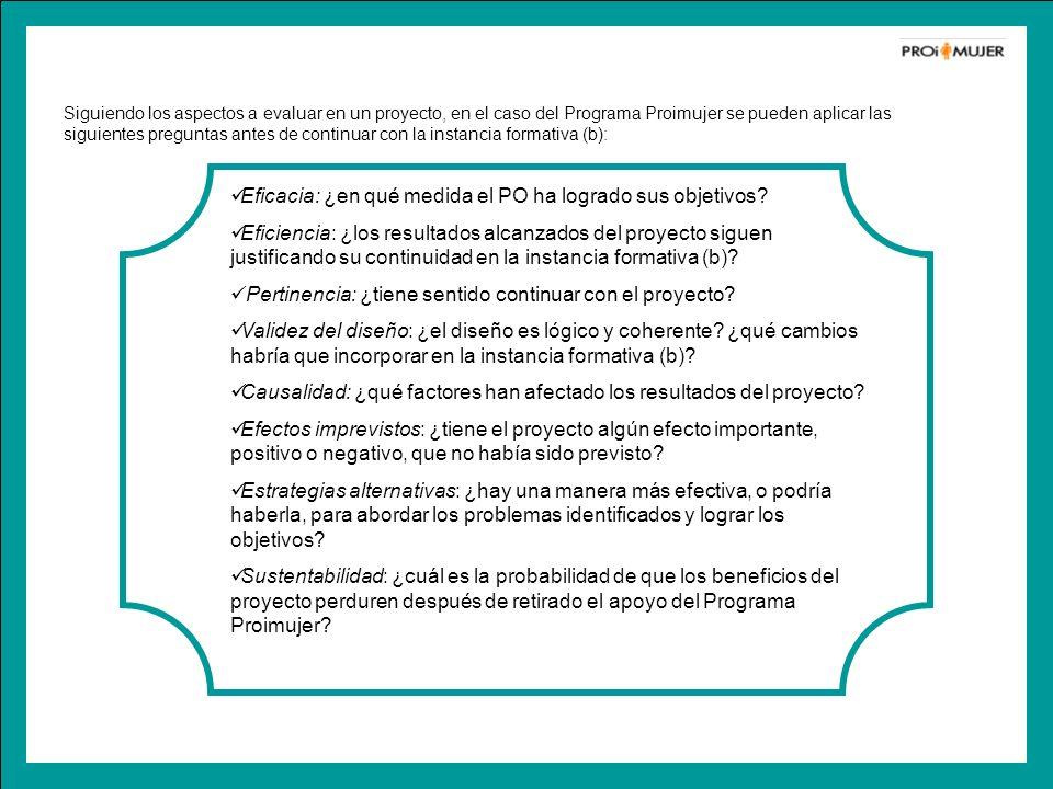 Siguiendo los aspectos a evaluar en un proyecto, en el caso del Programa Proimujer se pueden aplicar las siguientes preguntas antes de continuar con l