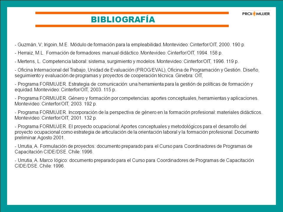 BIBLIOGRAFÍA - Guzmán, V; Irigoin, M.E. Módulo de formación para la empleabilidad. Montevideo: Cinterfor/OIT, 2000. 190 p. - Herraiz, M.L. Formación d