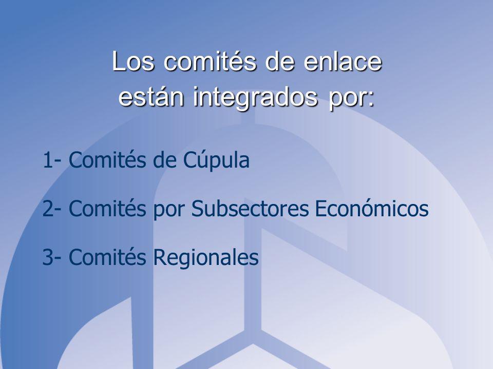 Los comités de enlace están integrados por: 1- Comités de Cúpula 2- Comités por Subsectores Económicos 3- Comités Regionales