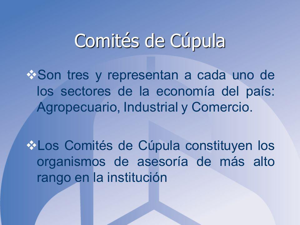 Comités de Cúpula Son tres y representan a cada uno de los sectores de la economía del país: Agropecuario, Industrial y Comercio. Los Comités de Cúpul