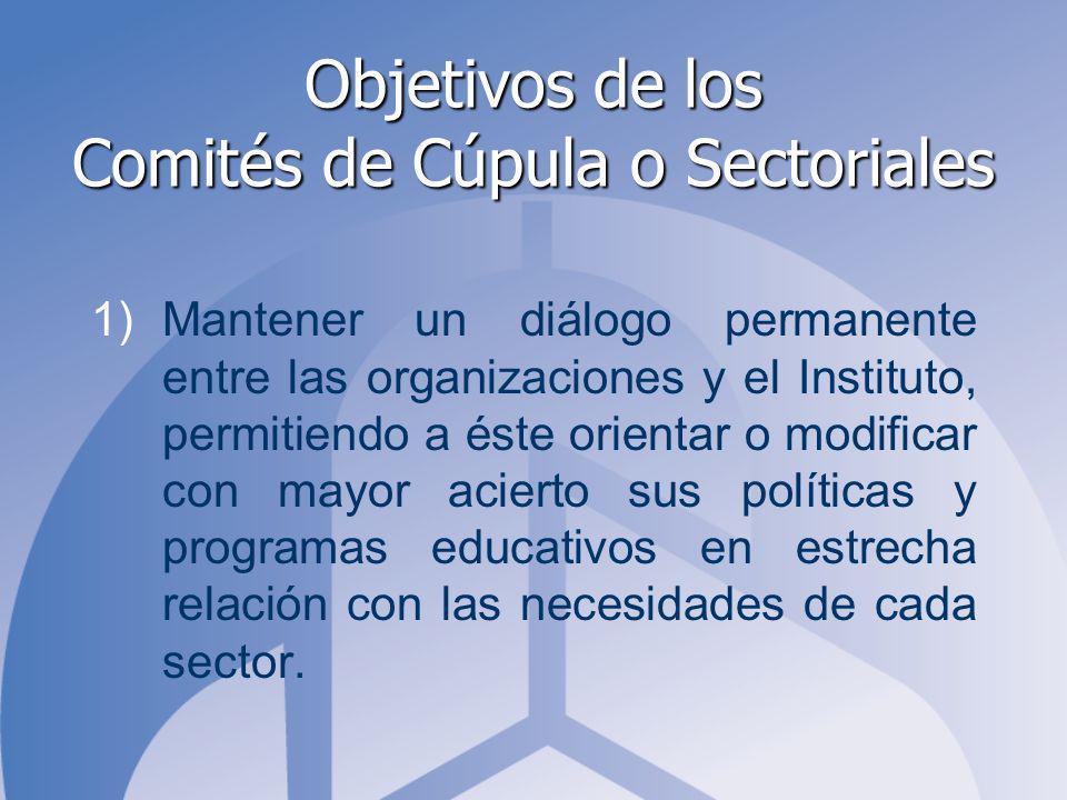 Objetivos de los Comités de Cúpula o Sectoriales 1)Mantener un diálogo permanente entre las organizaciones y el Instituto, permitiendo a éste orientar