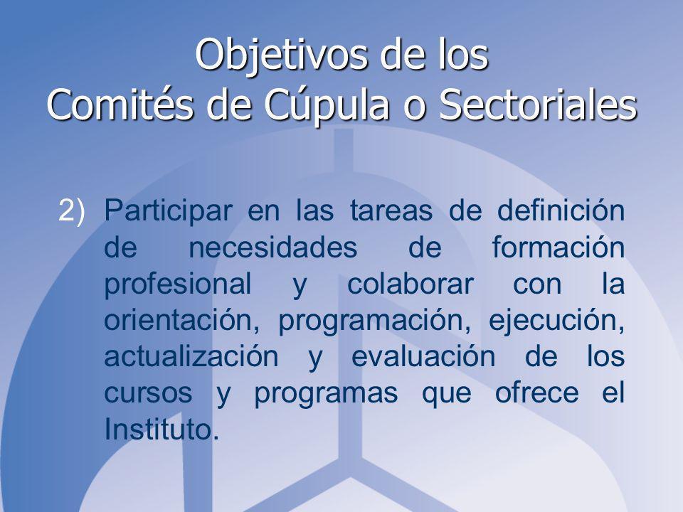 Objetivos de los Comités de Cúpula o Sectoriales 2)Participar en las tareas de definición de necesidades de formación profesional y colaborar con la orientación, programación, ejecución, actualización y evaluación de los cursos y programas que ofrece el Instituto.