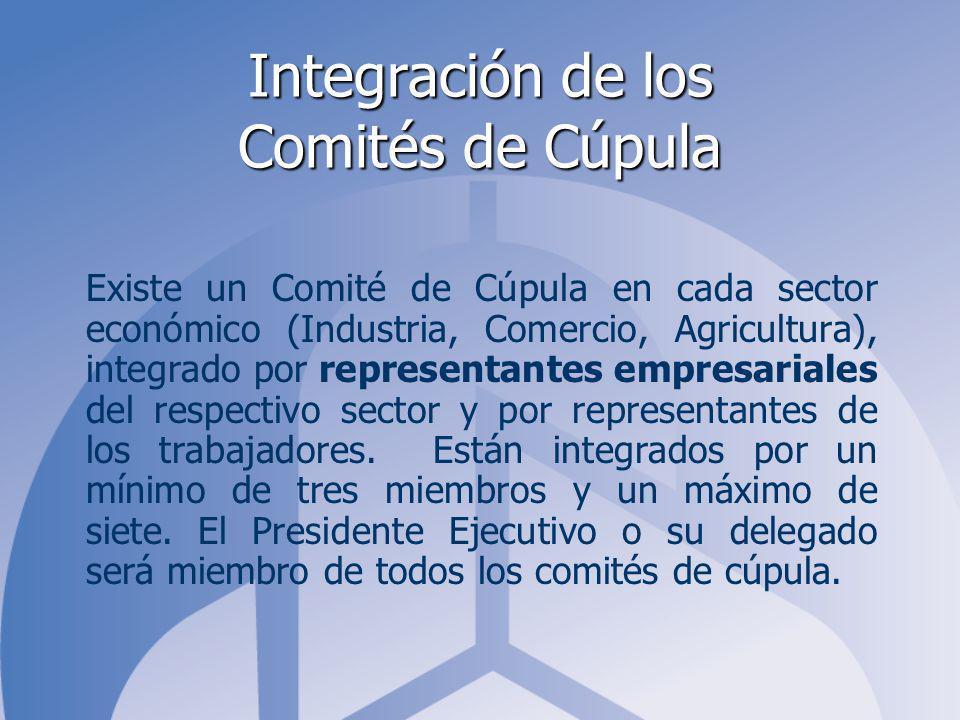 Integración de los Comités de Cúpula Existe un Comité de Cúpula en cada sector económico (Industria, Comercio, Agricultura), integrado por representantes empresariales del respectivo sector y por representantes de los trabajadores.