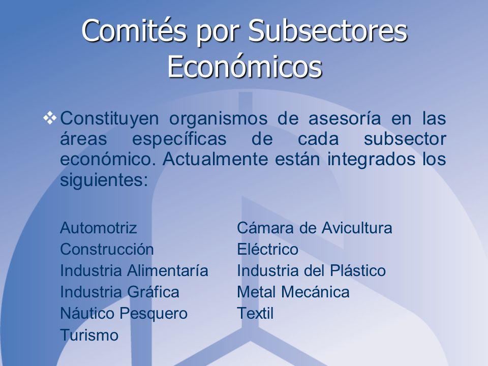 Comités por Subsectores Económicos Constituyen organismos de asesoría en las áreas específicas de cada subsector económico.