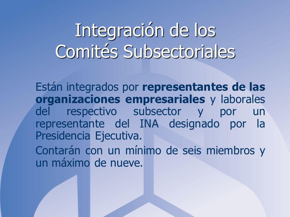 Integración de los Comités Subsectoriales Están integrados por representantes de las organizaciones empresariales y laborales del respectivo subsector y por un representante del INA designado por la Presidencia Ejecutiva.