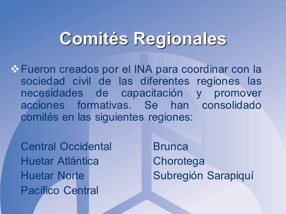Comités Regionales Fueron creados por el INA para coordinar con la sociedad civil de las diferentes regiones las necesidades de capacitación y promover acciones formativas.