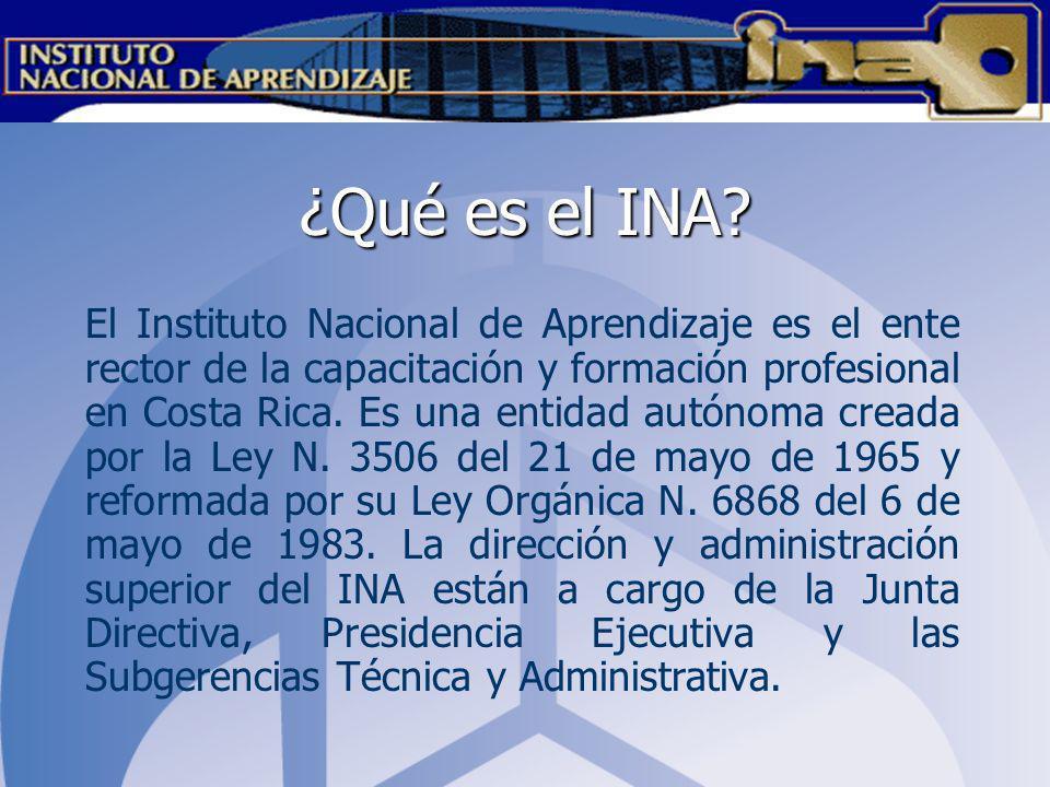 ¿Qué es el INA? El Instituto Nacional de Aprendizaje es el ente rector de la capacitación y formación profesional en Costa Rica. Es una entidad autóno
