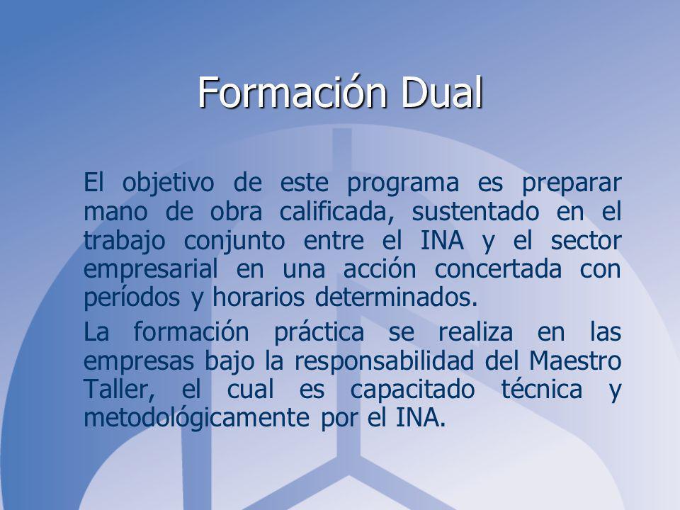 Formación Dual El objetivo de este programa es preparar mano de obra calificada, sustentado en el trabajo conjunto entre el INA y el sector empresarial en una acción concertada con períodos y horarios determinados.