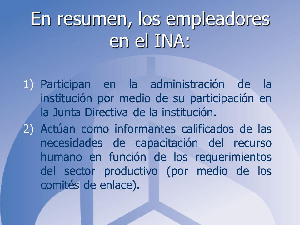 En resumen, los empleadores en el INA: 1)Participan en la administración de la institución por medio de su participación en la Junta Directiva de la institución.