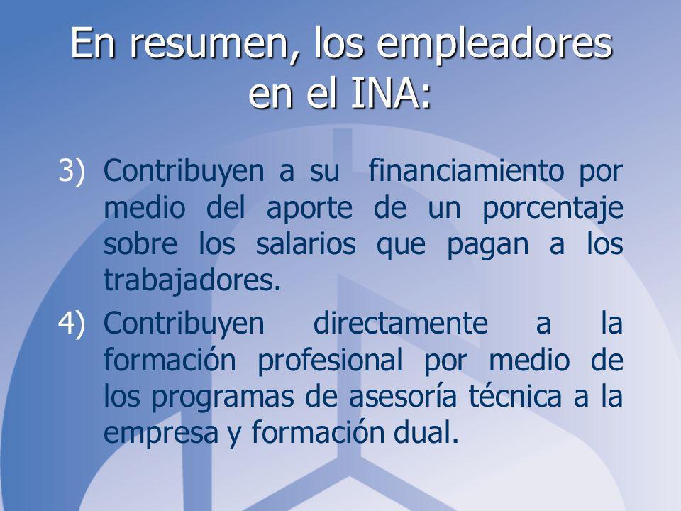 En resumen, los empleadores en el INA: 3)Contribuyen a su financiamiento por medio del aporte de un porcentaje sobre los salarios que pagan a los trab