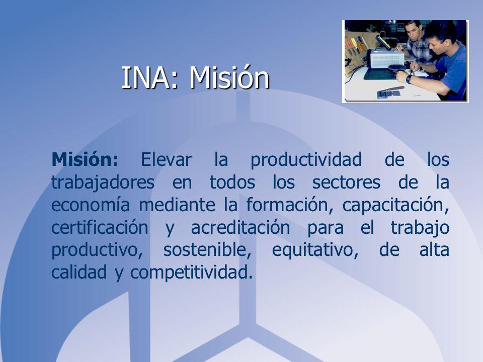 INA: Misión Misión: Elevar la productividad de los trabajadores en todos los sectores de la economía mediante la formación, capacitación, certificación y acreditación para el trabajo productivo, sostenible, equitativo, de alta calidad y competitividad.