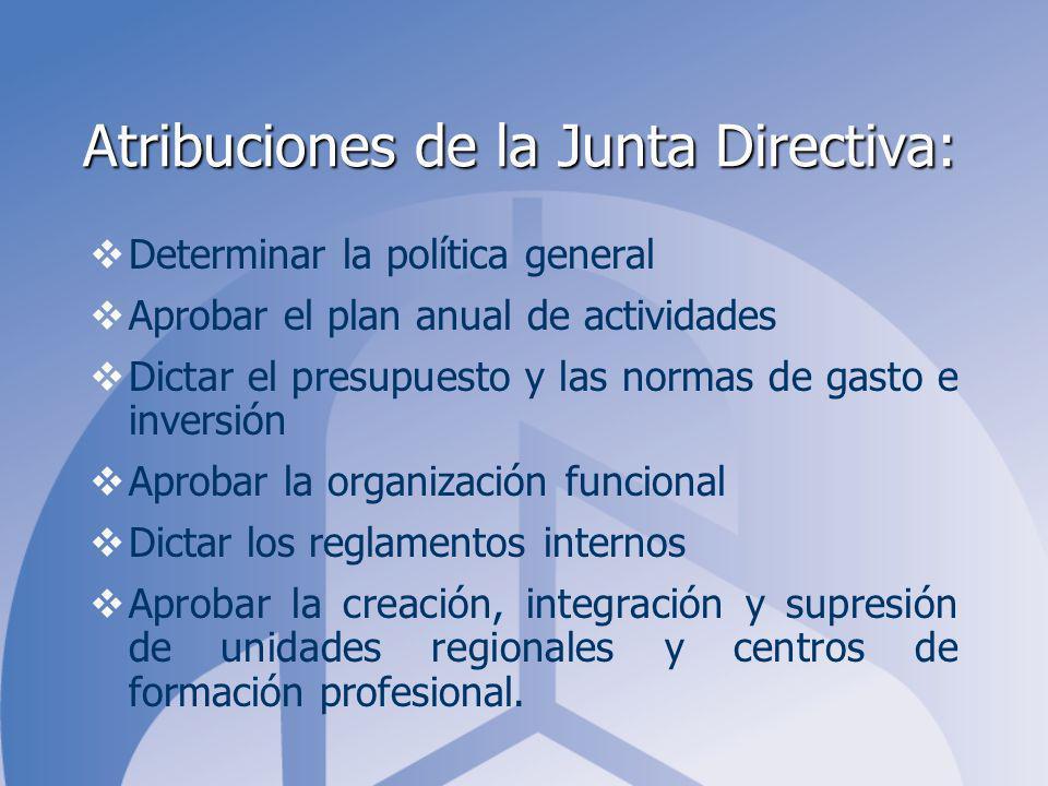 Atribuciones de la Junta Directiva: Determinar la política general Aprobar el plan anual de actividades Dictar el presupuesto y las normas de gasto e