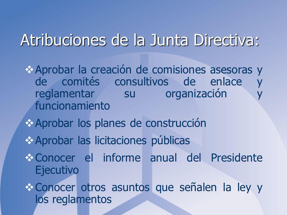 Atribuciones de la Junta Directiva: Aprobar la creación de comisiones asesoras y de comités consultivos de enlace y reglamentar su organización y func