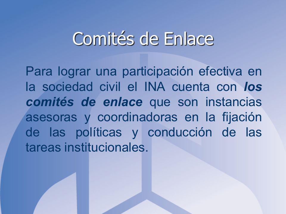 Comités de Enlace Para lograr una participación efectiva en la sociedad civil el INA cuenta con los comités de enlace que son instancias asesoras y coordinadoras en la fijación de las políticas y conducción de las tareas institucionales.