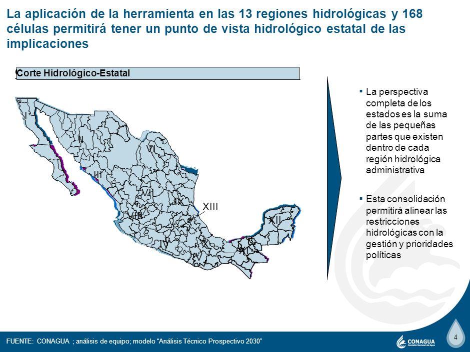4 La aplicación de la herramienta en las 13 regiones hidrológicas y 168 células permitirá tener un punto de vista hidrológico estatal de las implicaciones La perspectiva completa de los estados es la suma de las pequeñas partes que existen dentro de cada región hidrológica administrativa Esta consolidación permitirá alinear las restricciones hidrológicas con la gestión y prioridades políticas Corte Hidrológico Corte Político Corte Hidrológico-Estatal FUENTE: CONAGUA ; análisis de equipo; modelo Análisis Técnico Prospectivo 2030 I II III IV V VI VII VIII IX X XI XII XIII