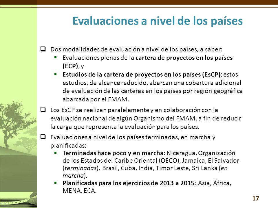 Dos modalidades de evaluación a nivel de los países, a saber: Evaluaciones plenas de la cartera de proyectos en los países (ECP), y Estudios de la cartera de proyectos en los países (EsCP); estos estudios, de alcance reducido, abarcan una cobertura adicional de evaluación de las carteras en los países por región geográfica abarcada por el FMAM.