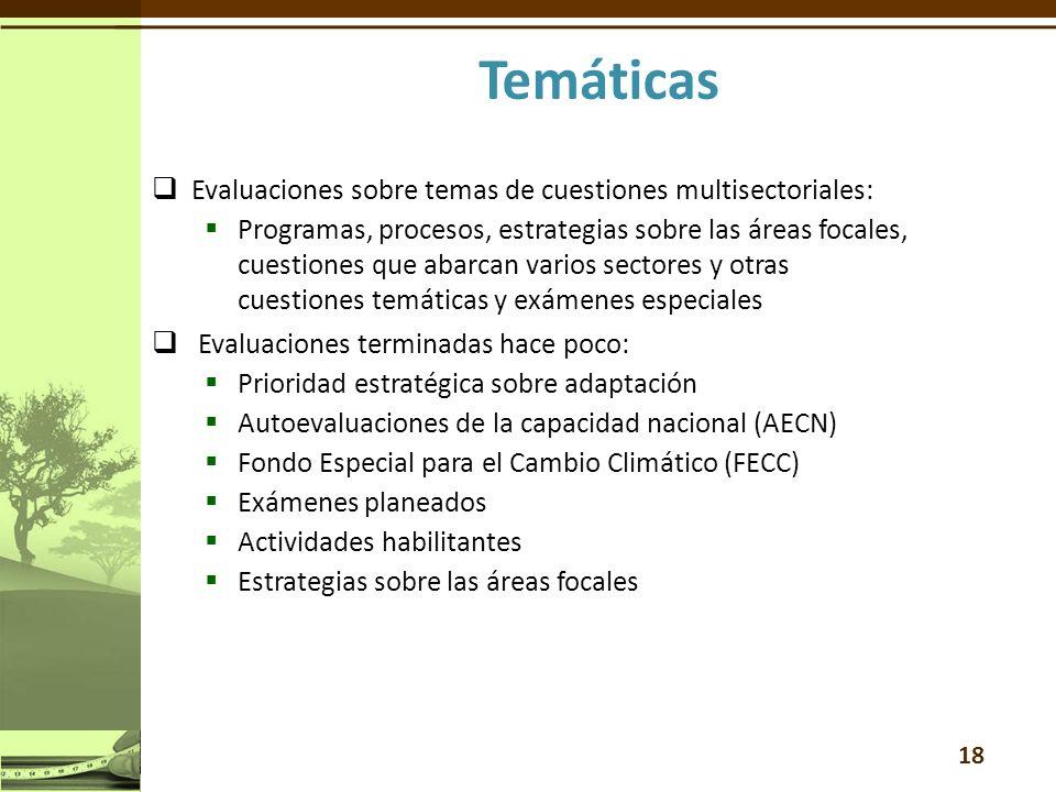 Evaluaciones sobre temas de cuestiones multisectoriales: Programas, procesos, estrategias sobre las áreas focales, cuestiones que abarcan varios sectores y otras cuestiones temáticas y exámenes especiales Evaluaciones terminadas hace poco: Prioridad estratégica sobre adaptación Autoevaluaciones de la capacidad nacional (AECN) Fondo Especial para el Cambio Climático (FECC) Exámenes planeados Actividades habilitantes Estrategias sobre las áreas focales 18