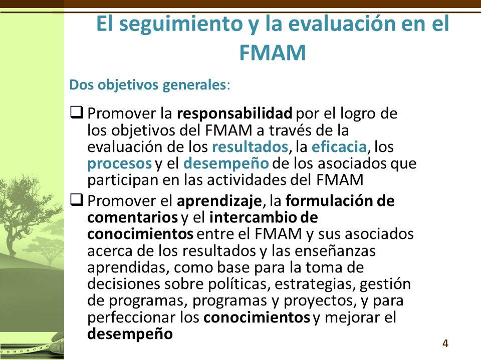 Dos objetivos generales: Promover la responsabilidad por el logro de los objetivos del FMAM a través de la evaluación de los resultados, la eficacia, los procesos y el desempeño de los asociados que participan en las actividades del FMAM Promover el aprendizaje, la formulación de comentarios y el intercambio de conocimientos entre el FMAM y sus asociados acerca de los resultados y las enseñanzas aprendidas, como base para la toma de decisiones sobre políticas, estrategias, gestión de programas, programas y proyectos, y para perfeccionar los conocimientos y mejorar el desempeño 4