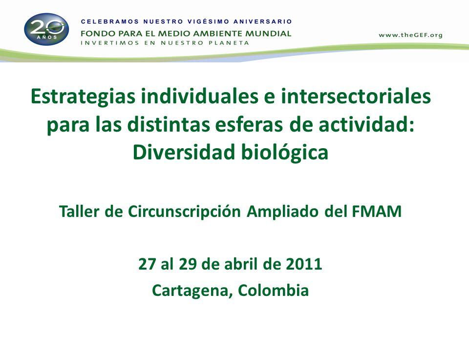 Estrategias individuales e intersectoriales para las distintas esferas de actividad: Diversidad biológica Taller de Circunscripción Ampliado del FMAM 27 al 29 de abril de 2011 Cartagena, Colombia