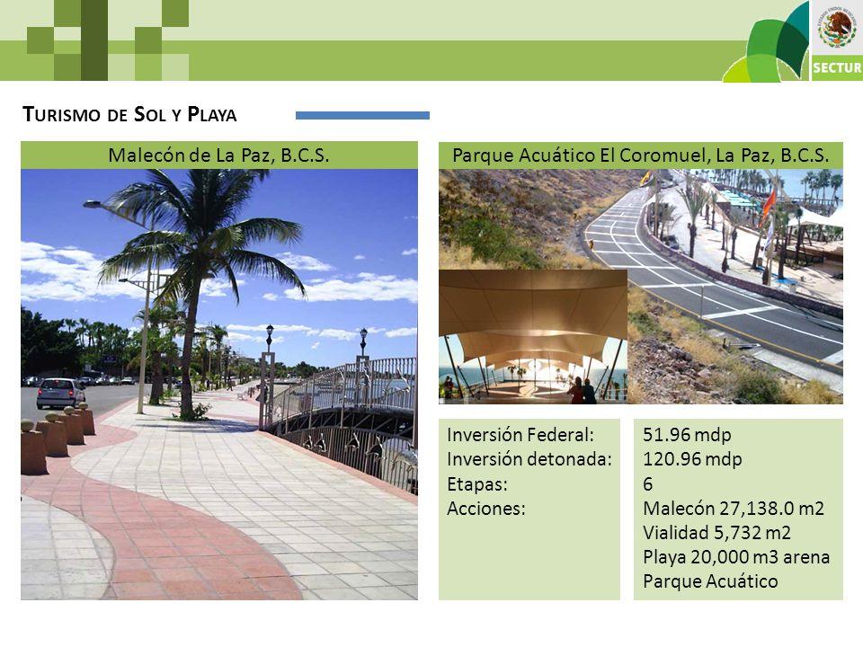 51.96 mdp 120.96 mdp 6 Malecón 27,138.0 m2 Vialidad 5,732 m2 Playa 20,000 m3 arena Parque Acuático T URISMO DE S OL Y P LAYA Malecón de La Paz, B.C.S.
