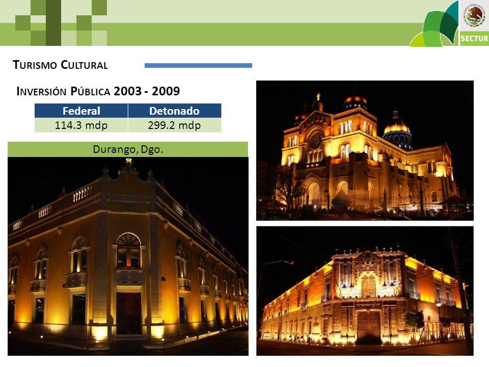 T URISMO C ULTURAL I NVERSIÓN P ÚBLICA 2003 - 2009 FederalDetonado 114.3 mdp299.2 mdp Durango, Dgo.