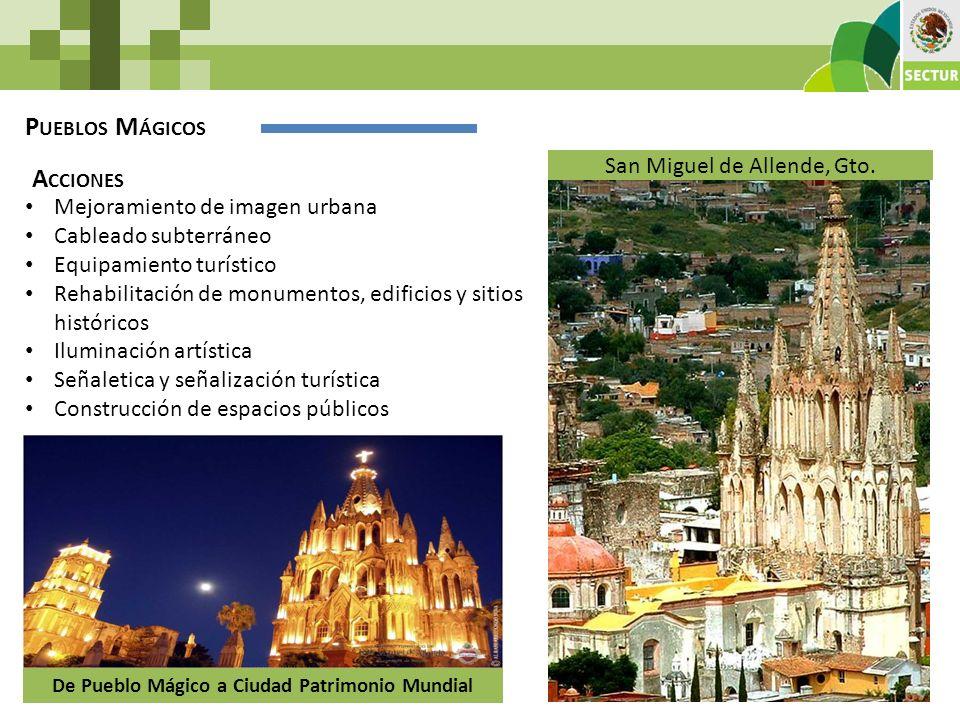 De Pueblo Mágico a Ciudad Patrimonio Mundial P UEBLOS M ÁGICOS Mejoramiento de imagen urbana Cableado subterráneo Equipamiento turístico Rehabilitació