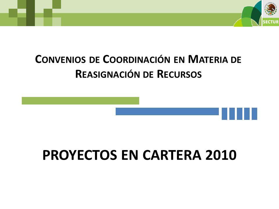 PROYECTOS EN CARTERA 2010 C ONVENIOS DE C OORDINACIÓN EN M ATERIA DE R EASIGNACIÓN DE R ECURSOS