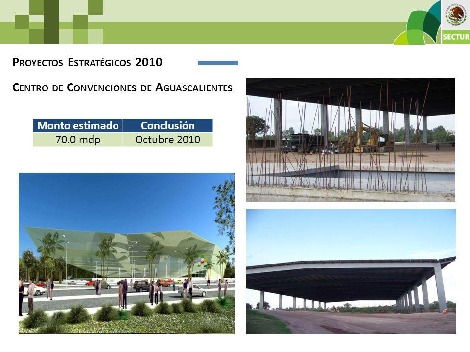 P ROYECTOS E STRATÉGICOS 2010 C ENTRO DE C ONVENCIONES DE A GUASCALIENTES Monto estimadoConclusión 70.0 mdpOctubre 2010