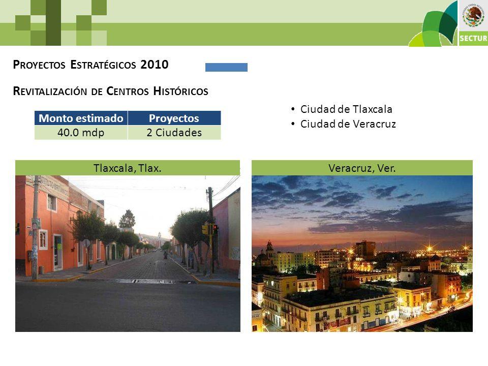 P ROYECTOS E STRATÉGICOS 2010 R EVITALIZACIÓN DE C ENTROS H ISTÓRICOS Monto estimadoProyectos 40.0 mdp2 Ciudades Tlaxcala, Tlax.Veracruz, Ver. Ciudad