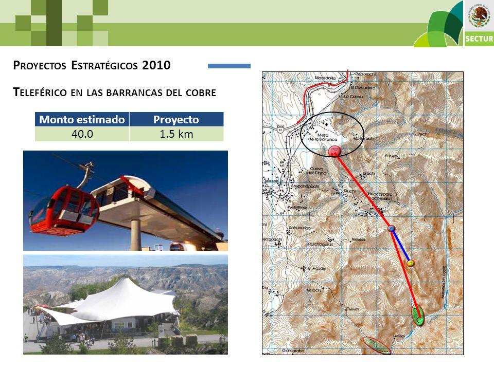 P ROYECTOS E STRATÉGICOS 2010 T ELEFÉRICO EN LAS BARRANCAS DEL COBRE Monto estimadoProyecto 40.01.5 km