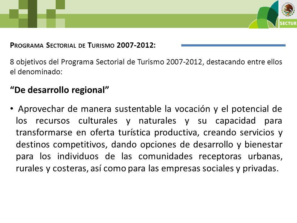 P ROGRAMA S ECTORIAL DE T URISMO 2007-2012: 8 objetivos del Programa Sectorial de Turismo 2007-2012, destacando entre ellos el denominado: De desarrol