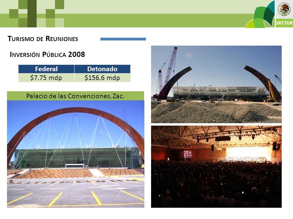 T URISMO DE R EUNIONES Palacio de las Convenciones, Zac. FederalDetonado $7.75 mdp$156.6 mdp I NVERSIÓN P ÚBLICA 2008