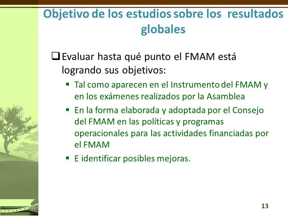 Evaluar hasta qué punto el FMAM está logrando sus objetivos: Tal como aparecen en el Instrumento del FMAM y en los exámenes realizados por la Asamblea En la forma elaborada y adoptada por el Consejo del FMAM en las políticas y programas operacionales para las actividades financiadas por el FMAM E identificar posibles mejoras.