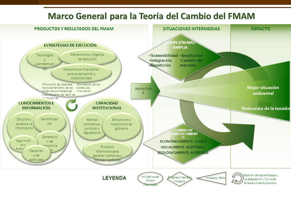 PRODUCTOS Y RESULTADOS DEL FMAMSITUACIONES INTERMEDIASIMPACTO Marco General para la Teoría del Cambio del FMAM Gestión del aprendizaje y la adaptación / Ciclo de fortalecimiento positivo ESTRATEGIAS DE EJECUCIÓN Tecnologías y planteamien tos Mecanismos y órganos de ejecución Mecanismos financieros para la aplicación y sostenibilidad Promoción de adalides Aprovechamiento de las iniciativas prometedoras Mejoramiento del perfil de las iniciativas Eliminación de los obstáculos Innovación CAPACIDAD INSTITUCIONAL Marcos normativos, jurídicos y regulatorios Estructuras y mecanismo de gobierno Procesos informales para generar confianza y resolver conflictos CONOCIMIENTOS E INFORMACIÓN Difusión y acceso a la información Sensibilizac ión Generació n de conocimie ntos Seguimien to y evaluación Desarroll o de aptitudes Reducción de la tensión Mejor situación ambiental TRAYECTORI A Iniciativa del FMAM /resultado Progreso hacia el impacto Impacto/ BAM LEYENDA