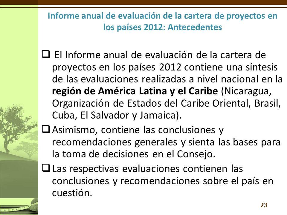 El Informe anual de evaluación de la cartera de proyectos en los países 2012 contiene una síntesis de las evaluaciones realizadas a nivel nacional en la región de América Latina y el Caribe (Nicaragua, Organización de Estados del Caribe Oriental, Brasil, Cuba, El Salvador y Jamaica).