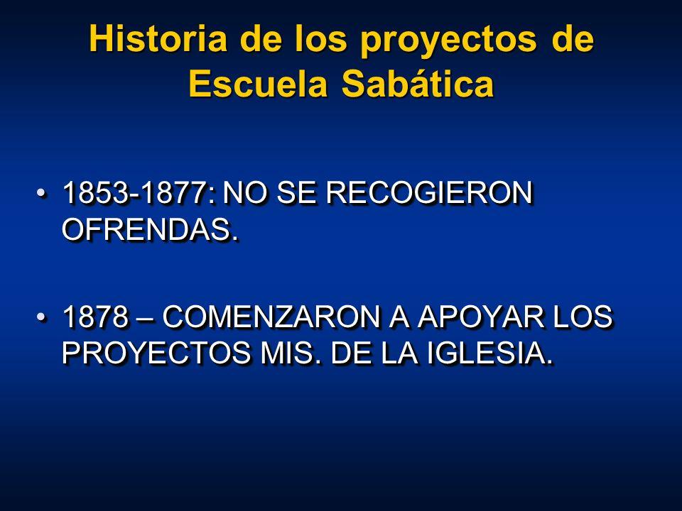 Historia de los proyectos de Escuela Sabática 1853-1877: NO SE RECOGIERON OFRENDAS.1853-1877: NO SE RECOGIERON OFRENDAS. 1878 – COMENZARON A APOYAR LO