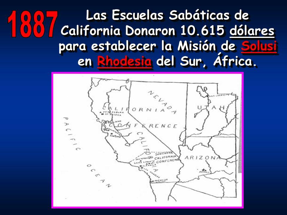 Las Escuelas Sabáticas de California Donaron 10.615 dólares para establecer la Misión de Solusi en Rhodesia del Sur, África.