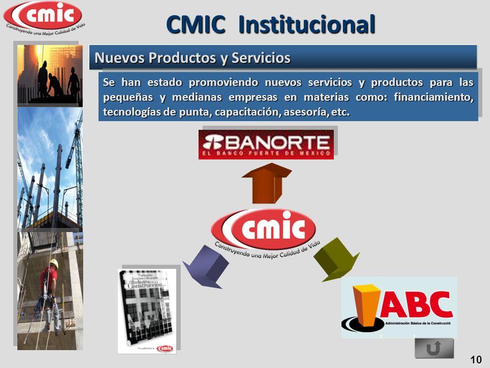10 CMIC Institucional Nuevos Productos y Servicios Se han estado promoviendo nuevos servicios y productos para las pequeñas y medianas empresas en mat