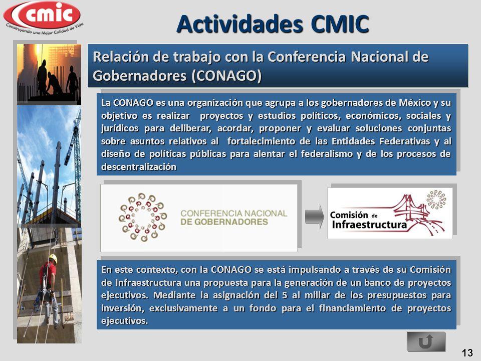 13 En este contexto, con la CONAGO se está impulsando a través de su Comisión de Infraestructura una propuesta para la generación de un banco de proye