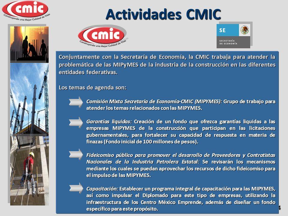 14 Conjuntamente con la Secretaría de Economía, la CMIC trabaja para atender la problemática de las MIPyMES de la industria de la construcción en las